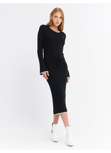 BGN Siyah - Şerit Detaylı Triko Elbise Siyah